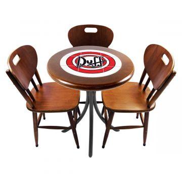 Mesa para café escritório recepção com 3 cadeiras Duff - Empório Tambo