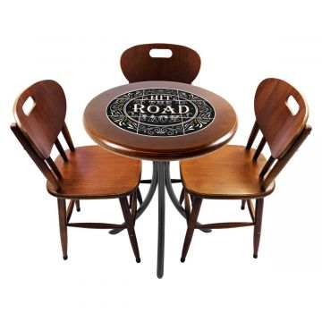 Mesa para café escritório recepção com 3 cadeiras Hit the Road Jack - Empório Tambo