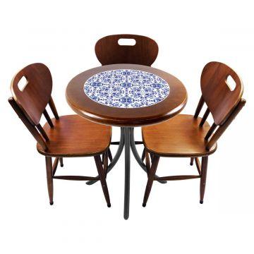 Mesa para café escritório recepção com 3 cadeiras Português - Empório Tambo