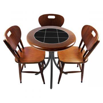 Mesa para café escritório recepção com 3 cadeiras Preto - Empório Tambo