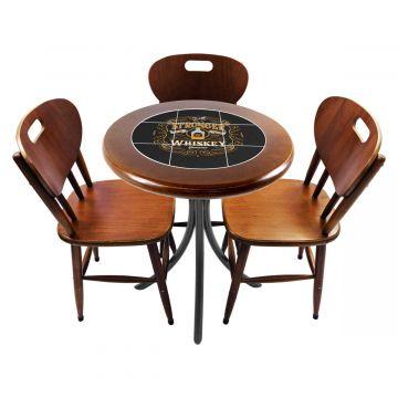 Mesa para café escritório recepção com 3 cadeiras Stronger Whiskey - Empório Tambo