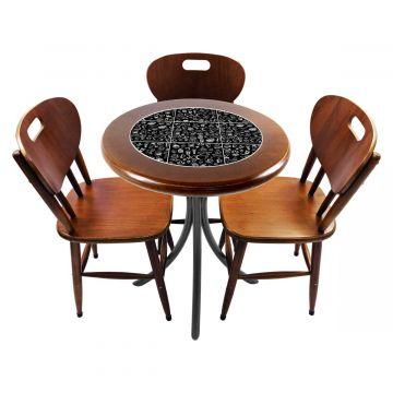 Mesa para café escritório recepção com 3 cadeiras Textura Café - Empório Tambo