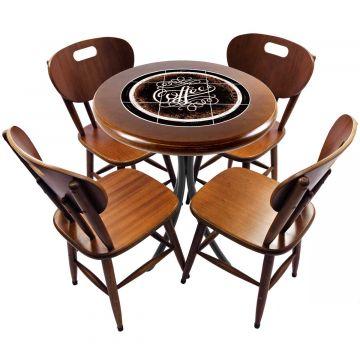 mesa redonda 4 cadeiras madeira maciça bar e lanchonete Coffe - Empório Tambo