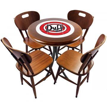 mesa redonda 4 cadeiras madeira maciça bar e lanchonete Duff - Empório Tambo
