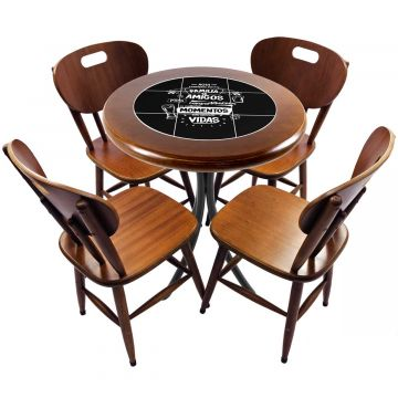 Mesa redonda 4 cadeiras madeira maciça bar e lanchonete Família e Amigos - Empório Tambo