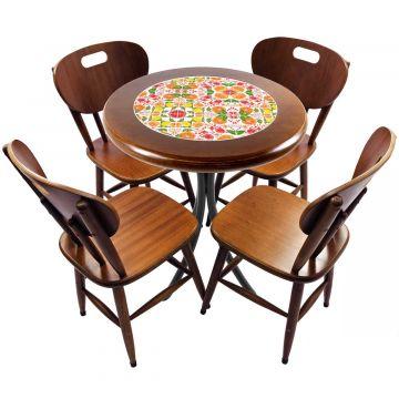 mesa redonda 4 cadeiras madeira maciça bar e lanchonete Frutas - Empório Tambo