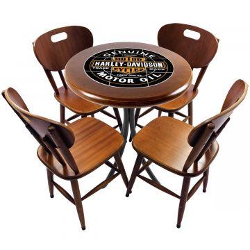 Mesa redonda 4 cadeiras madeira maciça bar e lanchonete Harley Davidson Genuine - Empório Tambo