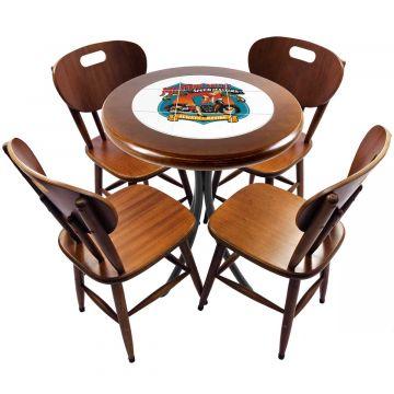 mesa redonda 4 cadeiras madeira maciça bar e lanchonete Motorcycle - Empório Tambo
