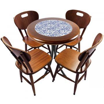 mesa redonda 4 cadeiras madeira maciça bar e lanchonete Ondulação - Empório Tambo