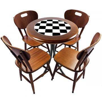 Mesa redonda 4 cadeiras madeira maciça bar e lanchonete Textura Xadrez - Empório Tambo