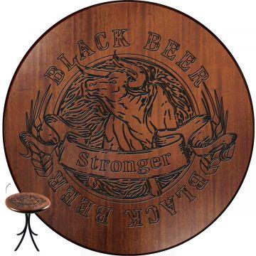 Mesa de madeira com 4 cadeiras Black Beer - Empório Tambo