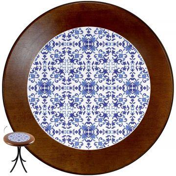 mesa redonda 4 cadeiras madeira maciça bar e lanchonete Português - Empório Tambo