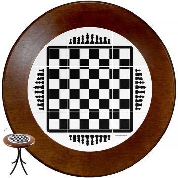 Mesa redonda 4 cadeiras madeira maciça bar e lanchonete Tabuleiro de Xadrez - Empório Tambo