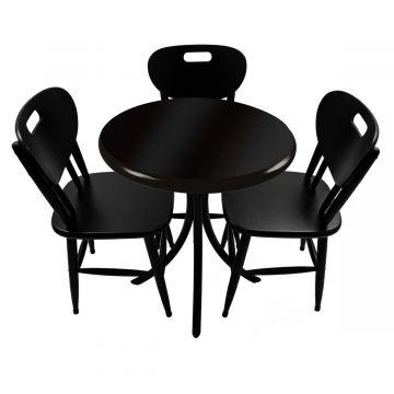 Mesa para lanchonete com 3 cadeiras Laqueada Preta - Empório Tambo
