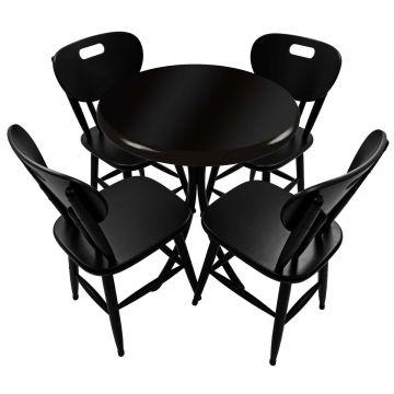 Mesa de madeira com 4 cadeiras Laqueada Preta - Empório Tambo