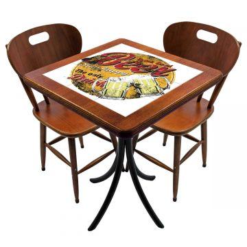 Mesa para cozinha pequena com 2 cadeiras Beer Stay Happy - Empório Tambo