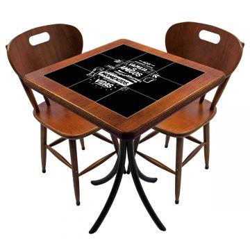 Mesa para cozinha pequena com 2 cadeiras Família e Amigos - Empório Tambo