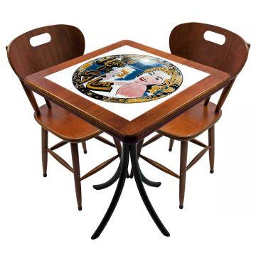 Mesa para cozinha pequena com 2 cadeiras Go hard or Go Home - Empório Tambo