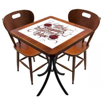 Mesa para cozinha pequena com 2 cadeiras Happiness - Empório Tambo
