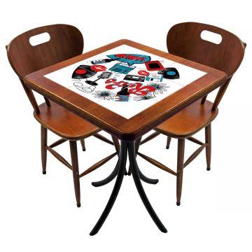Mesa para cozinha pequena com 2 cadeiras Oh My - Empório Tambo
