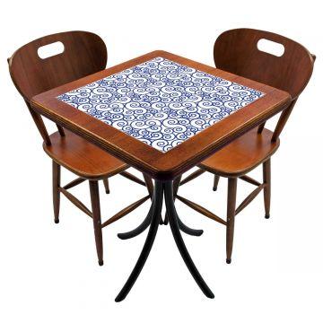 Mesa para cozinha pequena com 2 cadeiras Ondulação - Empório Tambo