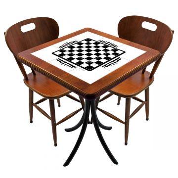 Mesa para cozinha pequena com 2 cadeiras Tabuleiro de Xadrez - Empório Tambo
