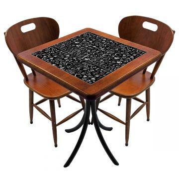 Mesa para cozinha pequena com 2 cadeiras Textura Café - Empório Tambo