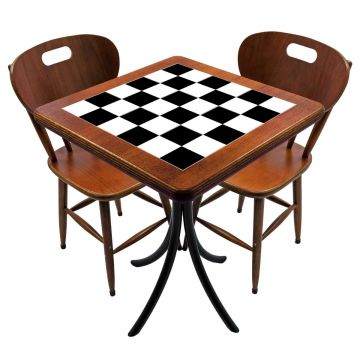 Mesa para cozinha pequena com 2 cadeiras Textura Xadrez - Empório Tambo