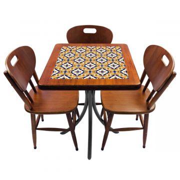 Mesa de canto para quarto com 3 cadeiras de madeira Anos Dourados - Empório Tambo