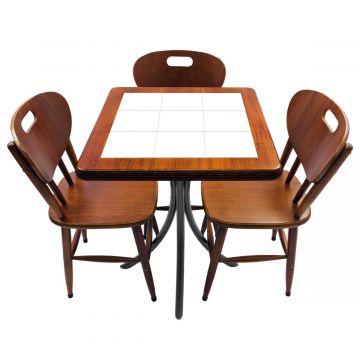 Mesa de canto para quarto com 3 cadeiras de madeira Branco - Empório Tambo