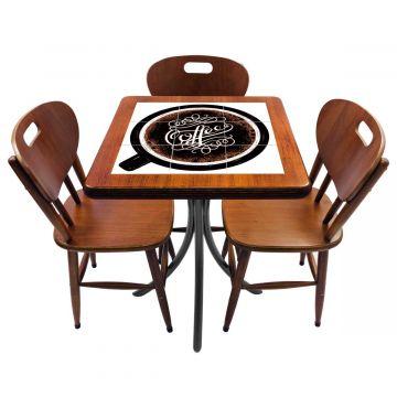 Mesa de canto para quarto com 3 cadeiras de madeira Coffe - Empório Tambo