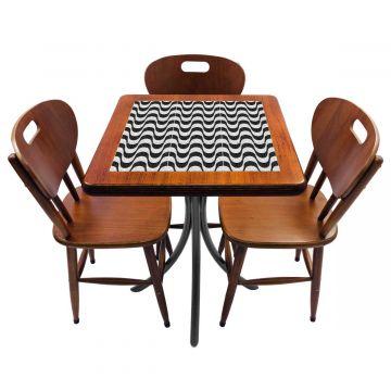 Mesa de canto para quarto com 3 cadeiras de madeira Copacabana - Empório Tambo