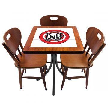 Mesa de canto para quarto com 3 cadeiras de madeira Duff - Empório Tambo