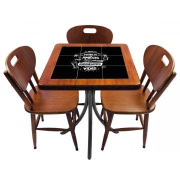 Mesa de canto para quarto com 3 cadeiras de madeira Família e Amigos - Empório Tambo