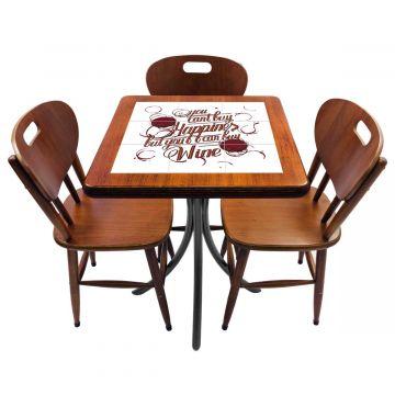 Mesa de canto para quarto com 3 cadeiras de madeira Happiness - Empório Tambo