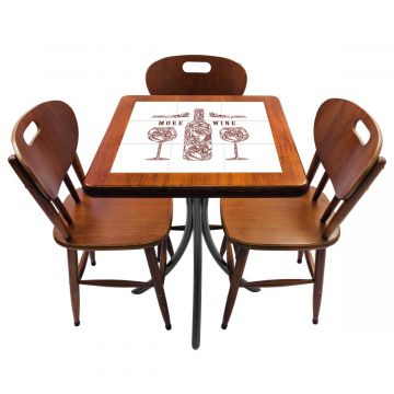 Mesa de canto para quarto com 3 cadeiras de madeira More Wine - Empório Tambo