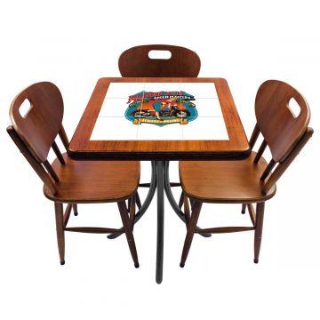 Mesa de canto para quarto com 3 cadeiras de madeira Motorcycle - Empório Tambo