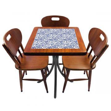 Mesa de canto para quarto com 3 cadeiras de madeira Ondulação - Empório Tambo