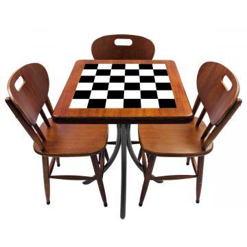 Mesa de canto para quarto com 3 cadeiras de madeira Textura Xadrez - Empório Tambo