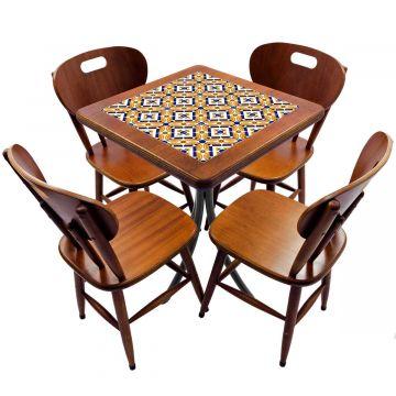 Jogo de Mesa com 4 Cadeiras madeira para lanchonete bar cozinha Anos Dourados - Empório Tambo