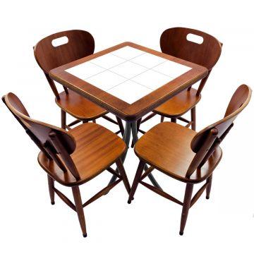 Jogo de Mesa com 4 Cadeiras madeira para lanchonete bar cozinha Branco - Empório Tambo