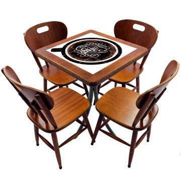 Jogo de Mesa com 4 Cadeiras madeira para lanchonete bar cozinha Coffe - Empório Tambo