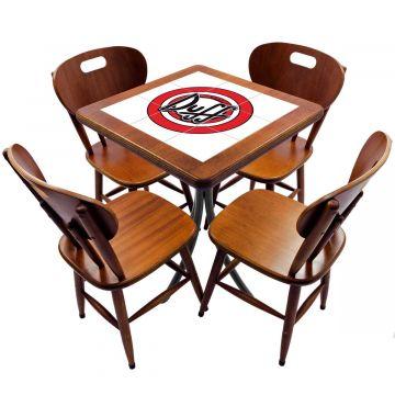 Jogo de Mesa com 4 Cadeiras madeira para lanchonete bar cozinha Duff - Empório Tambo