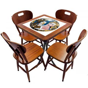 Jogo de Mesa com 4 Cadeiras madeira para lanchonete bar cozinha Go hard or Go Home - Empório Tambo