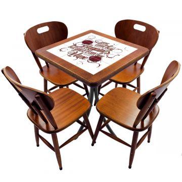 Jogo de Mesa com 4 Cadeiras madeira para lanchonete bar cozinha Happiness - Empório Tambo