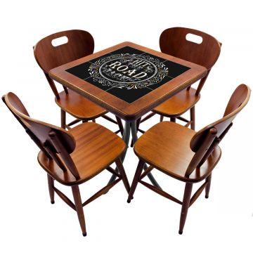 Jogo de Mesa com 4 Cadeiras madeira para lanchonete bar cozinha Hit the Road Jack - Empório Tambo