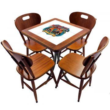 Jogo de Mesa com 4 Cadeiras madeira para lanchonete bar cozinha Motorcycle - Empório Tambo