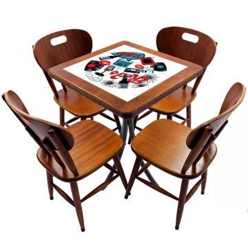 Jogo de Mesa com 4 Cadeiras madeira para lanchonete bar cozinha Oh My - Empório Tambo