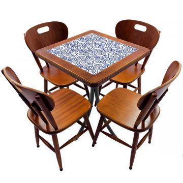 Jogo de Mesa com 4 Cadeiras madeira para lanchonete bar cozinha Ondulação - Empório Tambo