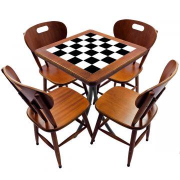 Jogo de Mesa com 4 Cadeiras madeira para lanchonete bar cozinha Textura Xadrez - Empório Tambo